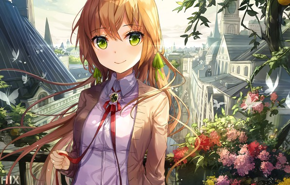 Picture butterfly, flowers, the city, plants, red, schoolgirl, long hair, spires, art, green eyes, red ribbon, ...