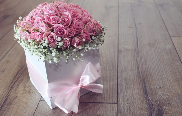 Picture flowers, box, gift, roses, bouquet, tape, pink, flower, pink, roses