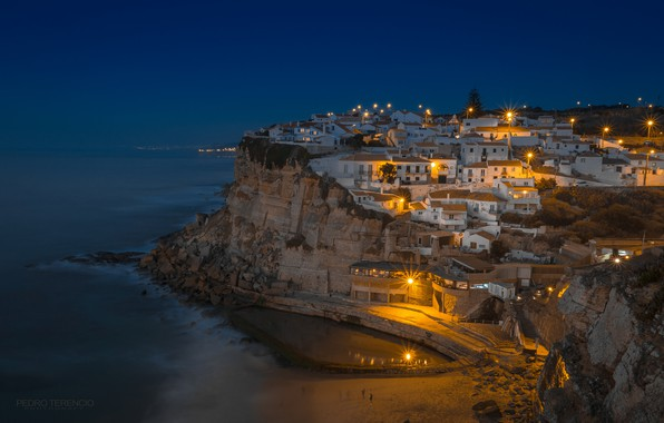 Picture sea, night, home, panorama