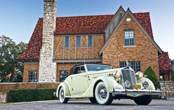 Picture auto, house, retro, Roadster, coupe, Packard