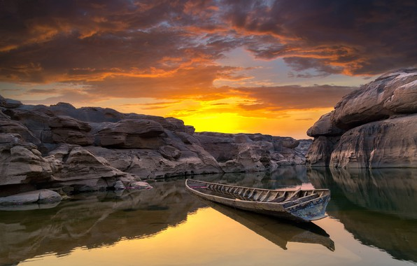 Picture the sky, clouds, sunset, stones, rocks, boat, canyon, Thailand, pond, Ubon Ratchathani