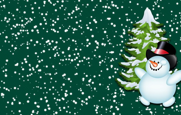 Picture Winter, Minimalism, Snow, New year, Tree, Holiday, Mood, Tree, Snowman