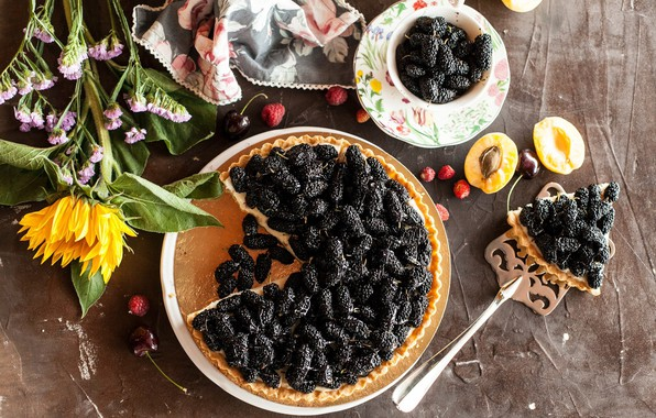 Picture flowers, berries, sunflower, pie, dessert, cakes, sweet, mulberry