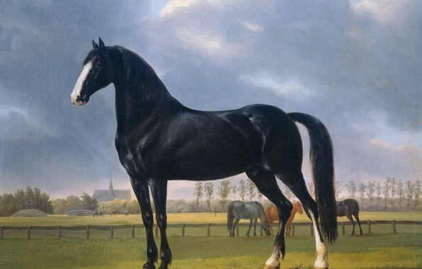 Picture animals, oil, picture, horse, canvas, Anthony Oberman, Fastest Trotter in the Meadow