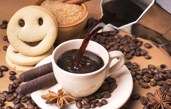 Picture mood, coffee, cookies, drink, cinnamon, chocolate sticks, Anis, a Cup of coffee, coffee bean