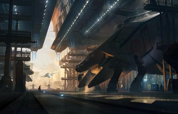 Picture future, fantasy, people, digital art, artwork, fantasy art, futuristic, Spaceships, hangars