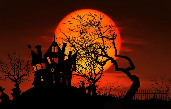 Picture house, tree, the moon, vector, silhouette, Halloween, Halloween