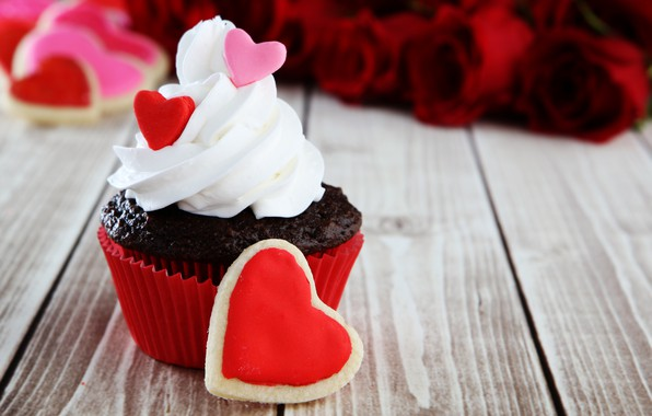 Picture holiday, cake, cake, Valentine's day, wood, Valentine's Day, cupcake, sweets, cupcake