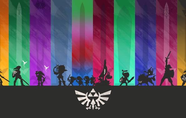 Picture purple, orange, blue, yellow, red, green, grey, pink, blue, dark, shadow, sword, figure, silhouette, dark, …