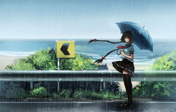Picture girl, sea, umbrella, anime, asian, japanese, asiatic, uniform, seifuku, orieantal