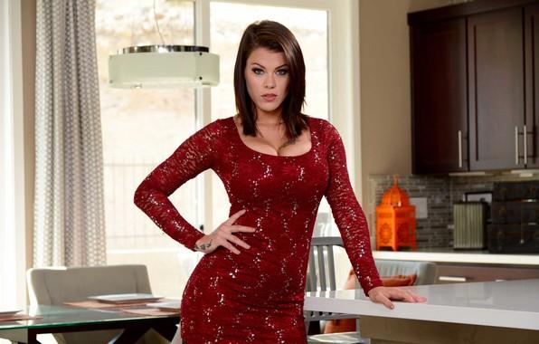 Picture figure, slim, dress, brunette, tattoo, red, girl, dress, Peta Jensen