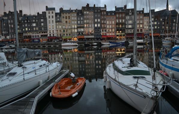 Picture France, Home, yachts, Promenade, Building, France, Honfleur, Honfleur