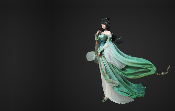 Picture girl, dress, fantasy, fan, art, yonglin yao