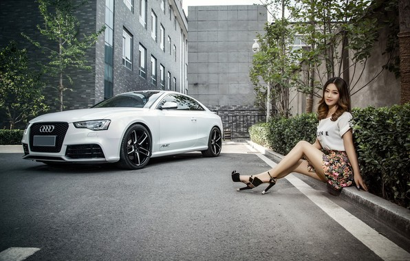 Photo wallpaper look, Audi, Girls, Asian, beautiful girl, white car, sitting on the curb