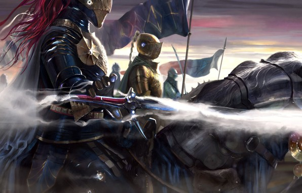 Picture sword, fantasy, armor, animals, weapon, horses, flags, digital art, artwork, warriors, fantasy art, pearls, Knights, …