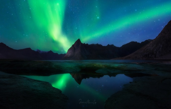 Picture the sky, stars, mountains, night, Northern lights, Norway, the fjord