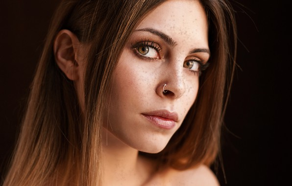 Picture look, face, background, portrait, makeup, piercing, hairstyle, freckles, brown hair, beauty, black background, bokeh, Alessia, …
