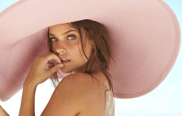 Picture girl, hat, eyes, model, beauty, look, Barbara Palvin, Sports Illustrated, Swimsuit Issue, sand on skin, …