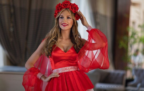 Picture girl, mood, roses, dress, outfit, beautiful, wreath, Sergey Melifera