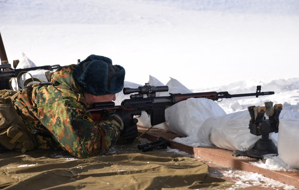 Picture winter, weapons, people, goal, sniper, SVD, rifle, bags