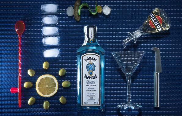 Picture lemon, glass, bottle, ice, gin, olives, Dry Martini