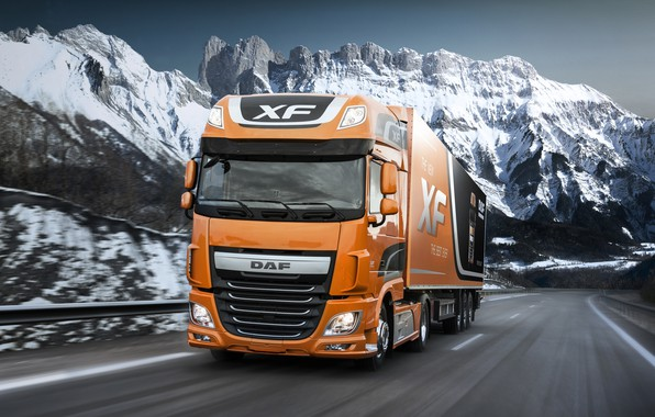 Picture road, snow, mountains, orange, movement, the fence, DAF, tractor, DAF, Super Space Cab, the trailer, …
