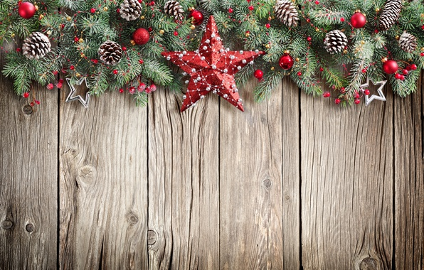 Picture New Year, Christmas, christmas, star, balls, wood, merry christmas, decoration, xmas, fir tree