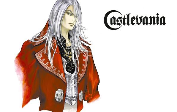 Picture collar, vampire, guy, art, castlevania, ayami kojima, long white hair, juste belmont