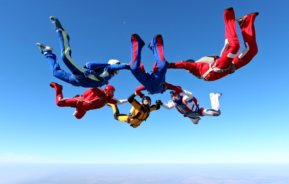 Picture the sky, the sun, earth, horizon, flight, colorful, costumes, hats, skydivers, parachuting, skydiving