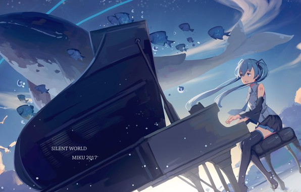 Picture girl, anime, art, kit, piano, Vocaloid