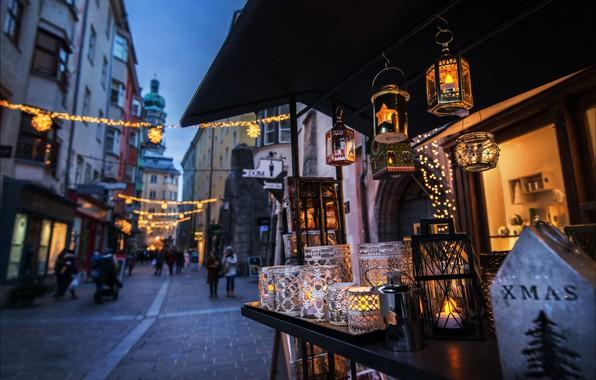 Picture holiday, street, watch, tower, home, Austria, Christmas, lanterns, Innsbruck