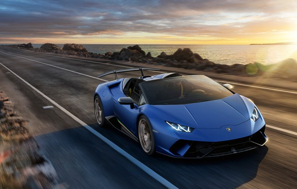 Picture sunset, coast, Lamborghini, Spyder, 2018, Performante, Huracan