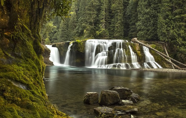 Picture nature, lake, waterfall