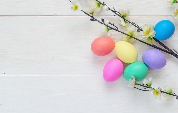 Picture flowers, spring, Easter, wood, flowers, spring, Easter, eggs, decoration, Happy, the painted eggs