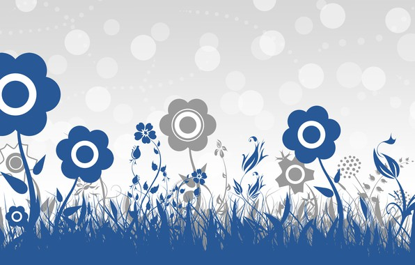 Picture flowers, blue, grey, background, Wallpaper, vector, texture