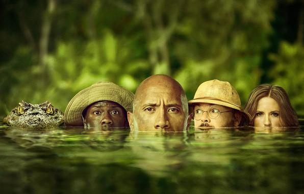 Picture greens, water, crocodile, jungle, fantasy, adventure, poster, Dwayne Johnson, Dwayne Johnson, Jack Black, Jack Black, …