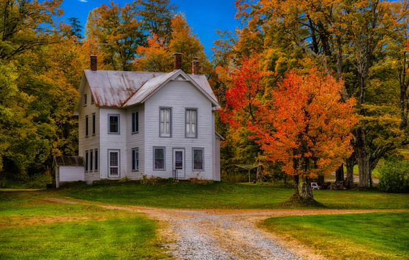 Picture road, autumn, grass, trees, house, New York, USA, mansion, Forestdale