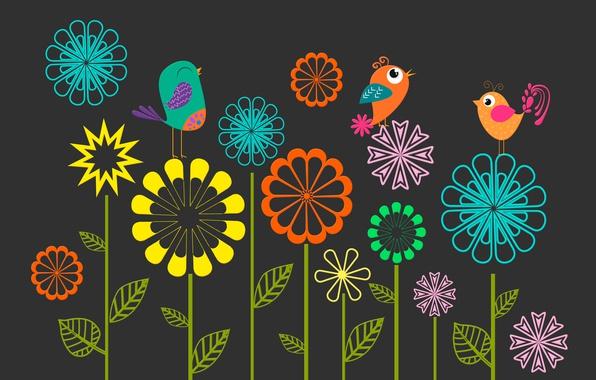 Picture flowers, birds, figure