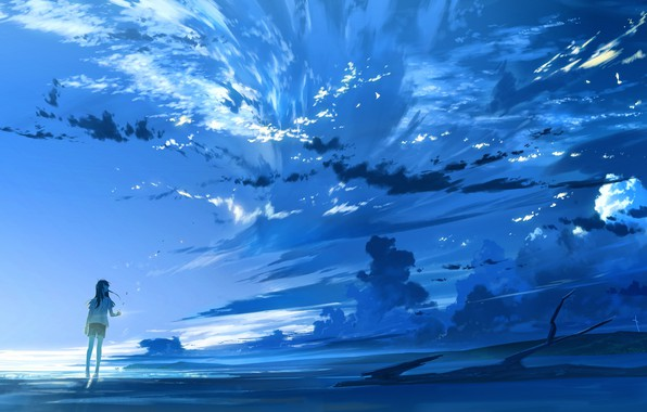 Picture the sky, girl, clouds, sunset, nature, anime, art, loundraw