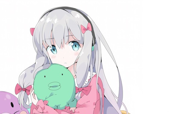 Picture girl, white background, bows, blue eyes, white hair, bezel, soft toy, EroManga-Sensei, Sagiri Izumi