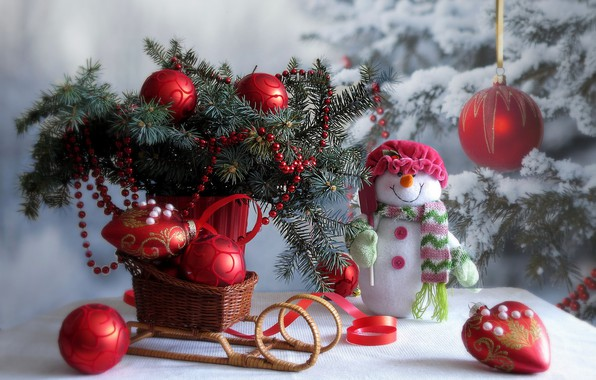 Picture winter, snow, decoration, branches, table, holiday, toys, new year, Christmas, spruce, snowman, tree, sled