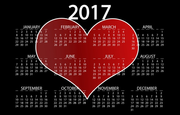 Picture love, red, background, black, heart, graphics, new year, vector, figures, black background, calendar, year, date, …