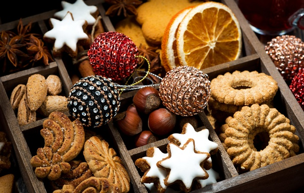 Picture box, orange, cookies, nuts, cuts