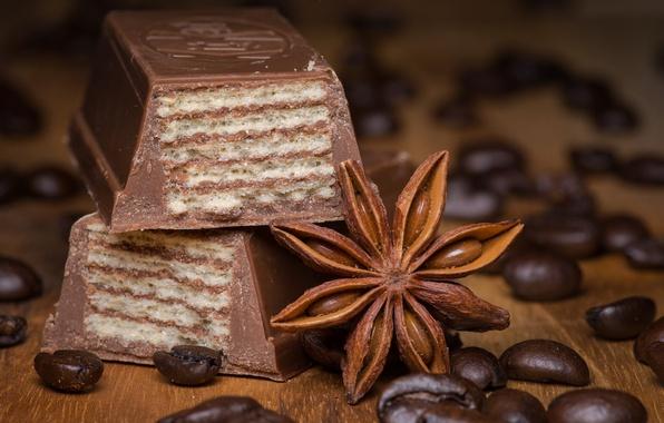 Picture coffee, chocolate, cinnamon, waffles
