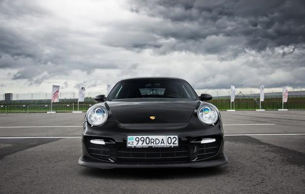 Picture 911, Porsche, Front, Black, Almaty