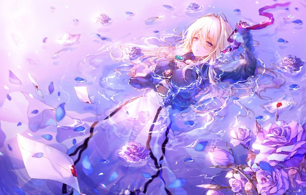 Picture Water, Girl, Anime, Violet Evergarden