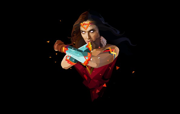 Picture fantasy, Wonder Woman, minimalism, comics, superhero, black background, fantasy art, DC Comics, Gal Gadot, simple …