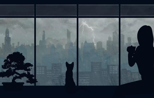 Picture cat, girl, the city, rain, by Aquelion