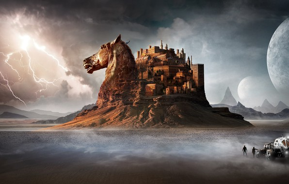 Picture the storm, mountains, people, castle, horse, lightning, desert, horse, head, car