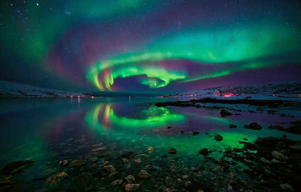Picture the sky, stars, night, stones, Northern lights, Norway, the fjord